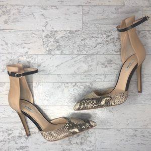 Guess Nude & Snakeskin Print Heels